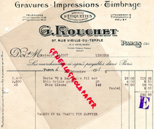 75 - PARIS -3EME- FACTURE G. ROUCHET-IMPRIMERIE GRAVURE- LITHOGRAPHIE- 97 RUE VIEILLE DU TEMPLE- 1930 - Carte Assorbenti