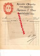 92 - BOIS COLOMBES- FACTURE IMPRIMERIE E. DAUX- SPECIALITES ETIQUETTES POUR PHARMACIE -PHARMACIEN-7 RUE CARBONNETS- 1896 - Buvards, Protège-cahiers Illustrés