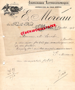 16 - COGNAC - FACTURE MANUSCRITE SIGNEE IMPRIMERIE LITHOGRAPHIE- E. MOREAU- 14 RUE DU NORD-1918 - I