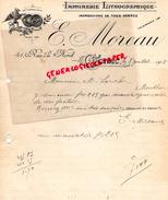 16 - COGNAC - FACTURE MANUSCRITE SIGNEE IMPRIMERIE LITHOGRAPHIE- E. MOREAU- 14 RUE DU NORD-1918 - Blotters