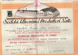 VD06  - SOCIETA' ANONIMA PRODUTTORI LATTE .- NOVARA -  9 Azioni Da 100 Lire -   30 Giugno 1954 - Agriculture