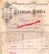 87 - LIMOGES - FACTURE DETHIAS & ESTEVE- IMPRIMERIE LITHOGRAPHIE GRAVURE-4 VOURS BUGEAUD- 1896 - Carte Assorbenti
