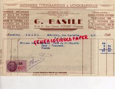 86- POITIERS- FACTURE IMPRIMERIE TYPOGRAPHIE LITHOGRAPHIE- G. BASILE-19 RUE CORNET- 1942 - Buvards, Protège-cahiers Illustrés
