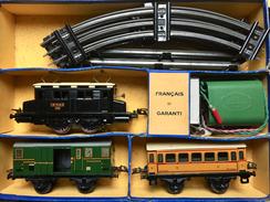"Train Hornby 02E38 De 1950 - Boite Complète - Une Locomotive OE ""boite à Sel"", Un Wagon Fourgon, Un Wagon Voyageurs - Toy Memorabilia"