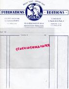 87 - LIMOGES - IMPRIMERIE PUBLICATIONS PERFRAC- RESISTANCE ET RENOVATION FRANCAISE-4 SQURE POSTE- GUERRE 1939-1945- - Carte Assorbenti