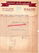 37 - SAINTE MAURE DE TOURAINE- FACTURE IMPRIMERIE A. BOUTAULT- RUE MAIRIE- 1947 - Buvards, Protège-cahiers Illustrés