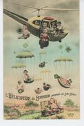 """ENFANTS - BEBES - Jolie Carte Fantaisie """"L'Hélicoptère Du Bonheur Parachute Ses Jolis Bébés """" - Bébés"""