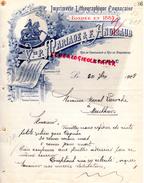 16 - COGNAC -FACTURE VVE P. MARIAGE & F. ANGIBAUD- IMPRIMERIE LITHOGRAPHIE-RUE CHATEAUDUN- 1908- LAROCHE MOUTHIERS BOEME - Blotters