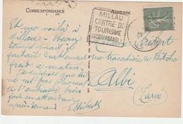 Semeuse Perforée CL Crédit Lyonnais Sur Carte 1925 Avec Daguin Millau Centre Du Tourisme - 2 Scans - Perfins