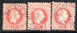 AUSTRIA 1874 , Tre Valori Del 5 Kr Usato Unificato N. 34/I - 1850-1918 Empire