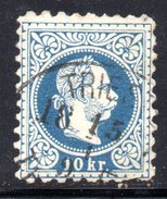 AUSTRIA 1874 ,  10 Kr Usato Unificato N. 35/I - 1850-1918 Impero