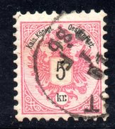 AUSTRIA 1883 ,  5 Kr Usato Unificato N. 42 Usato - 1850-1918 Impero