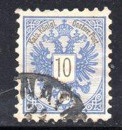 AUSTRIA 1883 ,  10 Kr Usato Unificato N. 43  Usato - 1850-1918 Impero