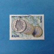 2002 ITALIA FRANCOBOLLO USATO STAMP USED - MONETA UNICA EUROPEA - - 6. 1946-.. Repubblica