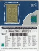 U.A.E. - Door, Etisalat Prepaid Card Dhs 30(reverse 7), Used