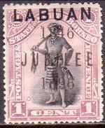 NORTH BORNEO LABUAN 1896 SG #83 1c MH Perf.15 CV £25 Jubilee Opt. - North Borneo (...-1963)