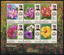 MALAYSIA JOHOR 2016 Garden Flowers Definitive MS MNH @J661 - Malaysia (1964-...)