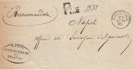 Galatina.1895. Annullo Grande Cerchio Su Raccomandata In Franchigia + Ovale UFFICIO DEL REGISTRO + AMB Al Verso. RARO.