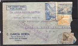 LISBOA CLIPPER! Carcía Dorta Santa Cruz De Tenerife CENSURE MILITAR 1941 > Corpust Christi Texas (213) - 1931-50 Briefe U. Dokumente