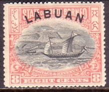 NORTH BORNEO LABUAN 1897 SG #94a 8c MH(heavy Hinge) Perf.15 X 14½ CV £26 - North Borneo (...-1963)