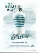 Carte Parfumée - Le Beau Mâle Parfum Homme De Jean Paul Gautier Avec échantillon Incorporé - Parfumkaarten