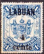 NORTH BORNEO LABUAN 1904 SG #137 4c On $1 MH Toned - North Borneo (...-1963)