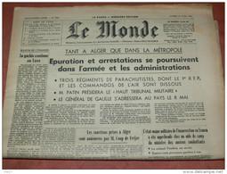 """JOURNAL"""" LE MONDE """" DU  29  AVRIL1961  GUERRE D ALGERIE PARACHUTISTE  / PUTSCH D ALGER/ OAS /  PIEDS NOIRS / DE GAULLE - 1950 à Nos Jours"""