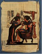 Papyrus-Bild Aus Ägypten  -  Die Salbung Des Pharao  - Ca. 22 X 32 Cm - Art Africain