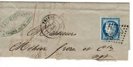 THIERS Puy De Dome, Type 17 GC 3936, 1873, Ceres 25c Bleu N°60, Verso Type 15 1 LYON 1 De Distribution