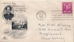 FDC Scott # 986 ~ Edgar Allan Poe / Cachet - Written Address - First Day Covers (FDCs)