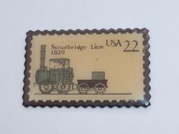 Pin's TIMBRE USA, LOCOMOTIVE STOURBRIDGE LION 1829 - TGV
