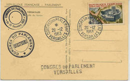 Carte Avec Cachet Congrès Parlement Versailles + Griffe Linéaire