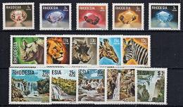 B0350 RHODESIA (Zimbabwe) 1978, SG 555-69 Definitives, Jemstones, Animals, Waterfalls  MNH - Rhodesia (1964-1980)