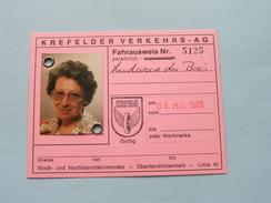 KREFELDER VERKEHRS - AG Fahrausweis Nr. 5125 ( Ludwica Du Bois ) 08 Mai 1983 ( Voir Photo Pour Detail )! - Transportation Tickets