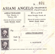 ASIANI ANGELO TRASPORTI FLUVIALI ABBIATEGRASSO MILANO - 1900-44 Vittorio Emanuele III