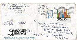 USA Aerogramme 1984 36c USPS Celebrate America Travel.The Perfect Freedom Postal History Cover Used. - Brieven En Documenten