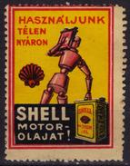 SHELL Motor Oil -  Label / Vignette / Cinderella - Hungary 1920's - Robot