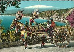 Sicilia, Caratteristico Carretto (Carrettino) Siciliano Trainato Da Cavallo E Costumi Tipici - Other Cities