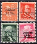 USA Precancel Vorausentwertung Preos Locals Kansas, Corwin 745, 4 Diff., Better Typs