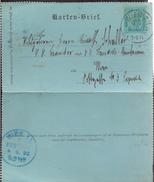 Autriche ENTIER CARTE LETTRE 3 Kreuser CAD VIENNE 1892 Arrivée Bleue Vienne Verso...G