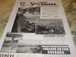 ANCIENNE PUBLICITE VACANCES EN SUISSE GENEVE 1934 - Advertising (Porcelain) Signs