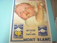 ANCIENNE PUBLICITE FARINE LAIT MONT BLANC 1934 PREMIERES DENTS - Posters