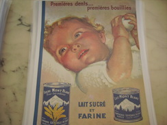 ANCIENNE PUBLICITE FARINE LAIT MONT BLANC 1934 PREMIERES DENTS - Affiches