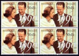 Belgium 2396** X4  30è Anniversaire Du Mariage Royal   Faciale 200 F - MNH