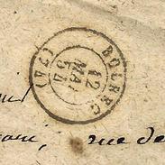 CACHET Bolbec 1854 Sur ENVELOPPE MIGNONETTE  BOLBEC Pour Mr Burgain Avoué Le Havre - 1849-1876: Période Classique