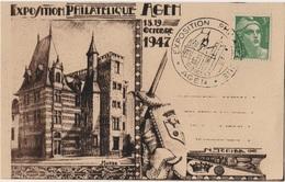 FR-L112 - FRANCE Carte Souvenir De L'Exposition Philatélique D'Agen 1947 - France