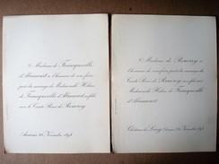 Faire-part Du Mariage D'Hélène De Francqueville D'Abancourt (Amiens) & Comte René De Rouvroy (Long), 1894. - Mariage