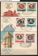 POLAND FDC 1956 AUSTRALIA MELBOURNE OLYMPICS (60 GR ENGRAVED BY SLANIA) SPORTS BOXING ROWING FENCING JAVELIN HURDLES