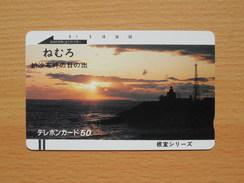 Japon Japan Free Front Bar, Balken Phonecard - 110-3005 / Sunset, Coucher De Soleil, Sonnenuntergang / Lighthouse, Phare - Lighthouses