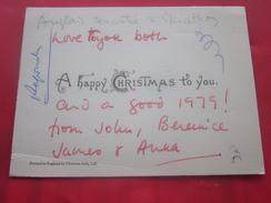Faire-part -Carte De Visite Chromo Happy Christmas Joyeux Noël England  1979 - Announcements